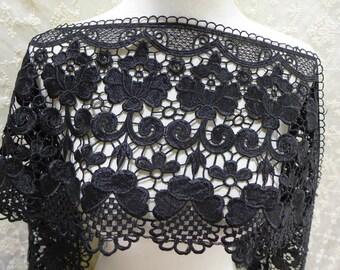 Wider black lace retro guipure lace trim for bridal dress, millinery, costumes design