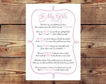 INSTANT DOWNLOAD Printable Bridesmaid Survival Kit Poem Card