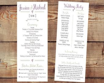 Rustic Custom Printable Double-Sided Wedding Program Digital File