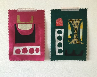 Fabric collage sampler pair No.3457