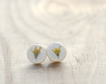 Real Flower Jewelry Real Flower Earrings Handmade Polymer Clay Jewelry Resin Gift Ideas Pressed Flower Studs