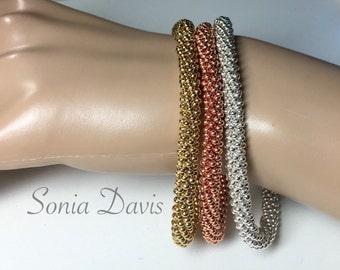 "A ""Truly Seamless"" Beaded Kumihimo Bangle, using Size 11 seed beads"
