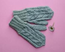 Knit wool mittens: Grey winter mittens, Knit wool gloves, Warm winter gloves, lace pattern gloves, alpaca wool gloves, warm alpaca mittens