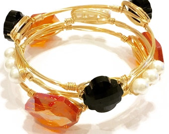 The Halloween Stack - Three Wire Wrapped Bangle Bracelets