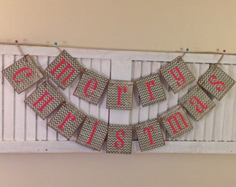 Merry Christmas Banner Bunting Garland Red and Green Chevron Christmas Card Prop