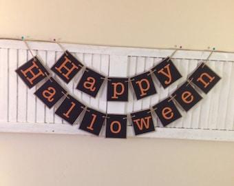 Halloween Banner Bunting Garland Happy Halloween Sign Primitive Halloween Orange and Black