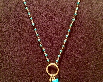 Turquoise rosary and goldfilled chain Y necklace with turquoise and vermeil charms/pendant