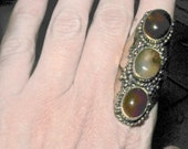 carnelian and honey citrine saddle ring/statement ring/huge ring/statement art to wear ring