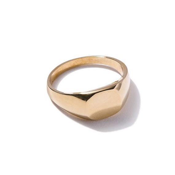 gold geometric signet ring handmade mens ring by duelingco