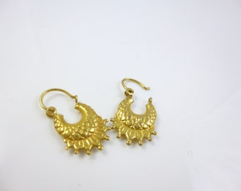 9KT Gold  Earrings, Gold Hoop Earrings, Gypsy Earrings, Vintage