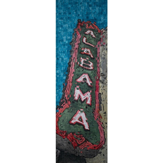 "Birmingham Alabama- Alabama Theatre- Architectural Art: 10""x30"" Original Painting"