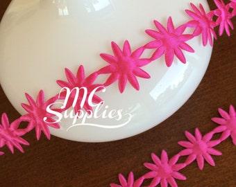 Daisies trim,craft trim,headband supplies,fabric trim,flower trim,scrapbooking trim,headband halo,costume trim,pink daisies,189