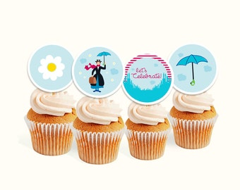 INSTANT DOWNLOAD Mary Poppins cupcake toppers (digital file)