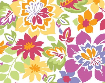 "Laminated Cotton Fabric - Riley Blake Designs ""Extravaganza"" by Lila Tueller Designs, Multi-Main; Floral Laminate"