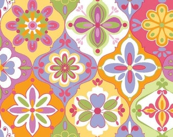 "Laminated Cotton Fabric - Riley Blake Designs ""Extravaganza"" by Lila Tueller Designs, pattern L4641 Multi-Ceramic; Waterproof Fabric"