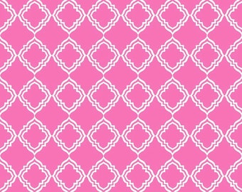 "Laminated Cotton Fabric - Riley Blake Designs ""Extravaganza"" by Lila Tueller Designs Pink Laminate; Geometric Laminate"