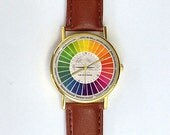 Vintage Color Wheel Watch, Ladies Watch, Men's Watch, Collage, Unisex, Vintage Inspired, Collage, Analog, Gift Idea