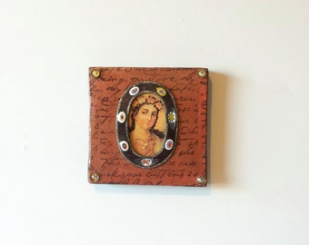 Virgin Mary art - canvas - mixed media - Virgin Mary - vintage enamel frame - catholic art - home decor - collage - religious art - handmade