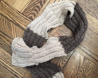 Knitted Brown and Tan Scarf