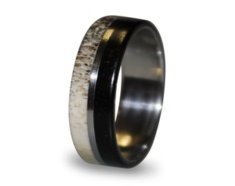 Stainless Steel Ring, Deer Antler Inlay, Ebony Wood Ring, Wedding ring