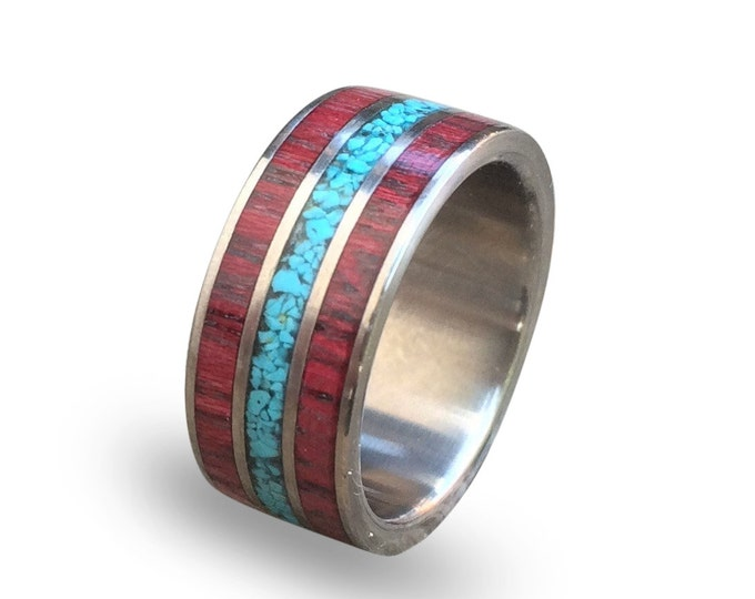 Titanium mens ring with amaranth wood and turquoise inlay