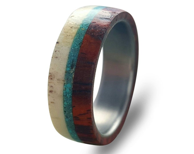 Deer Antler and Cocobolo Wood Ring, Titanium Ring with Turquoise Inlay