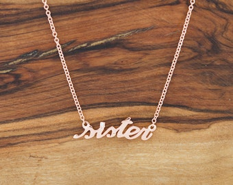 925 Sterling Silver CZ Sister Necklace