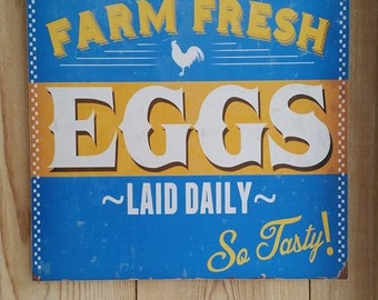 vintage wooden Farm fresh eggs sign