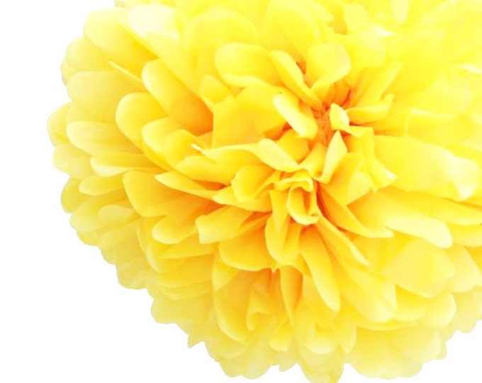 Lemon Yellow Tissue Paper Pom, Lemon Yellow Pom, Lemon Tissue Paper Pom Pom, Yellow Paper Flower, Tissue Flower, Wedding and Birthday Decor