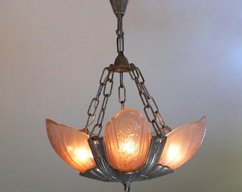 Antique Lincoln Art Deco chandelier with slip shades 1920's
