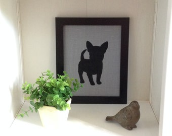 Gray Burlap French Bulldog Canvas Board