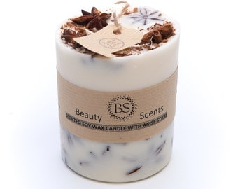 Handmade Cinnamon Scented Soy Candle With Star Anise, D 7.5 H 8.5 cm