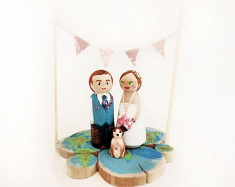 Wedding Cake toppers travel / figurines marriage / family figurines wedding / cake topper / Peg custom doll - Todo customize
