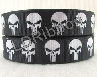 "1"" Skull Grosgrain Ribbon"