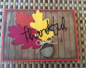 Handmade Greeting Card:  Thanksgiving card with fall leaves and acorn.