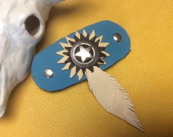 Western Barrette with Star Concho, Handmade Leather Barrette Clip, Rodeo Wear, Made in Canada