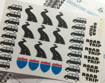 Road Trip Mini Van (Black) Planner Stickers by Ella Couture by Jessica