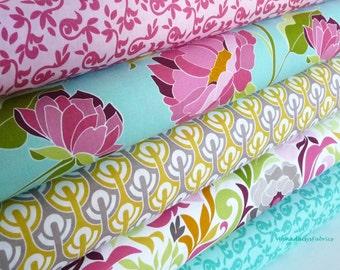 Art Deco Fabric Bundle, Riley Blake Halle Rose, Abstract Floral Fabric Bundle, Fat Quarter, Half Yard, One Yard Quilt Fabric Bundle of 5