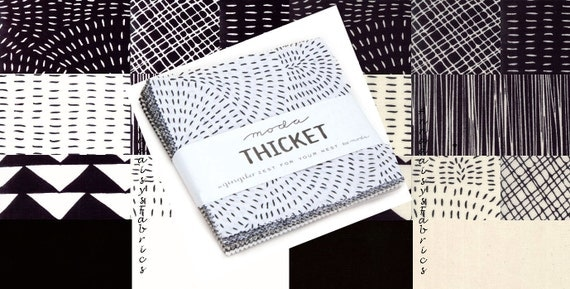 "Moda Thicket Charm Pack, 48200PP Gingiber, 42 Pre-cut 5"" Squares, Black and Cream, Black and White Fabric Bundle, Cotton"