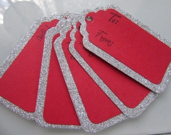 Red and Silver Christmas tags, set of 5