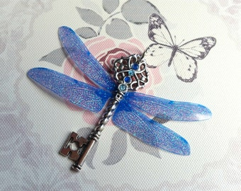 Magical Blue Dragonfly Winged Key Pendant