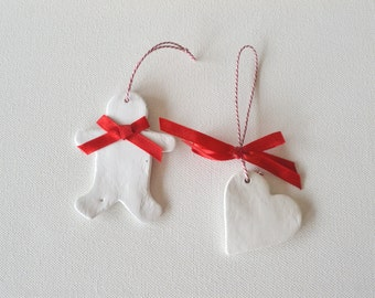 Christmas Decoration,  Clay ornaments, Christmas Ornaments, holiday decor, set of two 2