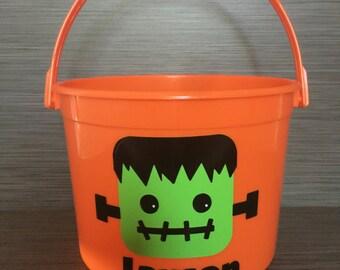 Personalized Frankenstein Trick or Treat Bucket // Frankenstein Trick or Treat Bag // Halloween Frankenstein // Frankenstein