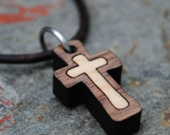 Wooden Cross Necklace Christian Jewelry