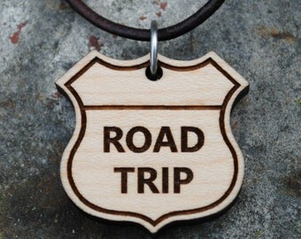 Road Trip Highway Sign NECKLACE