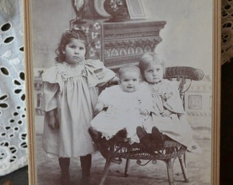 Vintage Cabinet card of 3 Cute Children