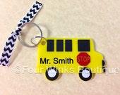 3 inch School Bus Key Chain / Thumb Drive holder / Christmas Tree Ornament~ RedAcrylic  !
