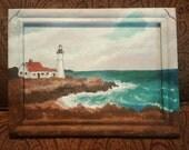 Mini Finnie Seascape 5 x 7 Original Infinity Frame Acrylic Painting Lighthouse Rocky Coast Purple Sky Ocean Theme Nautical Wall Art