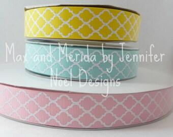 US Designer Ribbon - Glitter Quatrefoil Ribbon - Pink Quatrefoil Ribbon - Aqua Quatrefoil Ribbon - Yellow Quatrefoil Ribbon Glitter Print