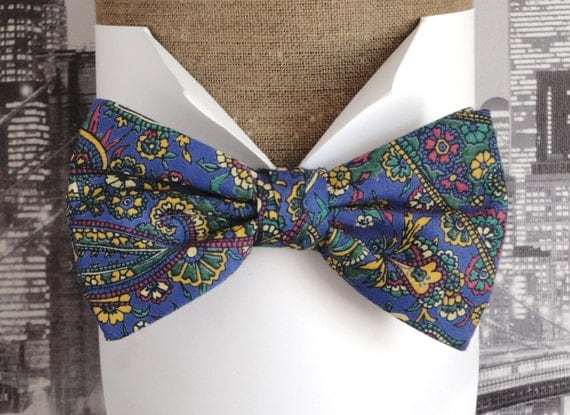 "Blue paisley bow tie, made from vintage cloth, with adjustable band, will fit neck size up to 20"" (50cms)"